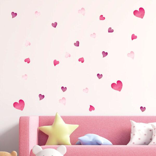 Αυτοκόλλητο τοίχου Watercolor hearts