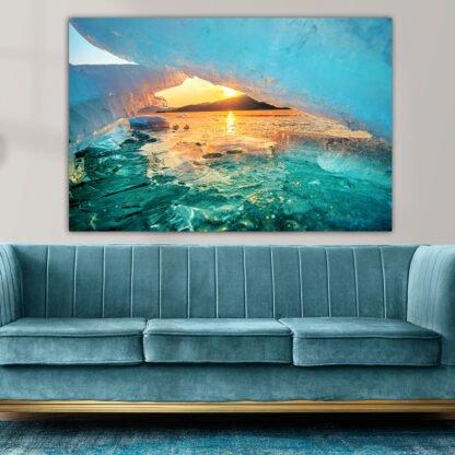 Πίνακας σε καμβά ηλιοβασίλεμα μέσα απ τον πάγο