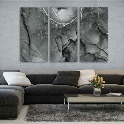 Τρίπτυχος πίνακας Alcohol Ink Grey