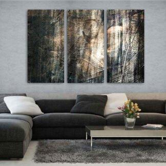 Τρίπτυχος πίνακας Mystery Dark Abstract