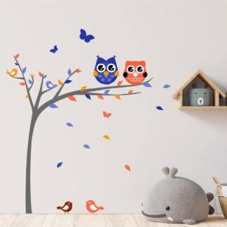 Αυτοκόλλητο τοίχου Δέντρο με κουκουβάγιες Νο2 για αγόρι