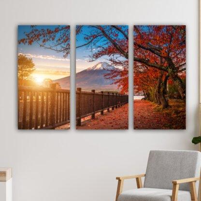 Τρίπτυχος πίνακας σε καμβά Fall Sunset