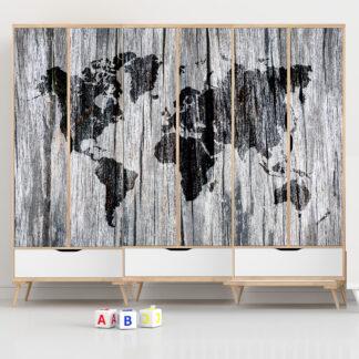 Αυτοκόλλητο ντουλάπας World Map Grey