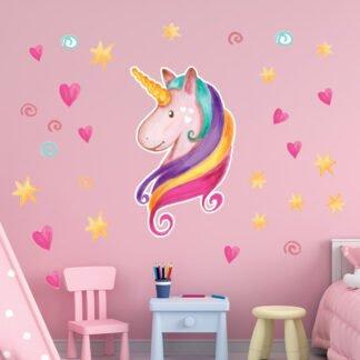 Αυτοκόλλητο τοίχου Μονόκερος με αστέρια & καρδούλες