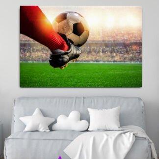 Πίνακας σε καμβά παίχτης ποδοσφαίρου που σουτάρει