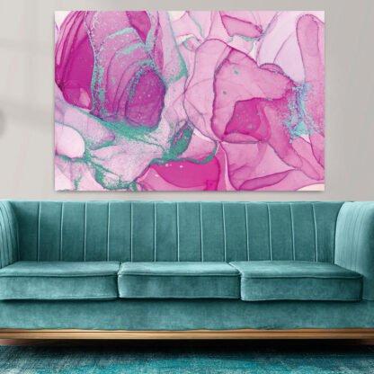 Πίνακας σε καμβά alcohol pink turquise