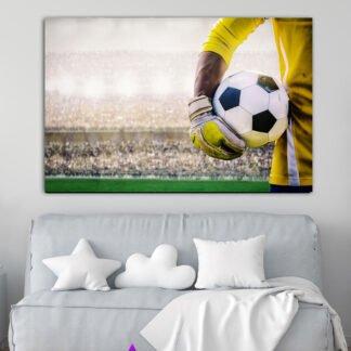 Πίνακας σε καμβά παίχτης ποδοσφαίρου κρατάει την μπάλα