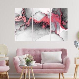 Τρίπτυχος πίνακας Red Pink Abstract
