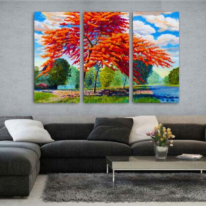 Τρίπτυχος πίνακας Red Tree Painting