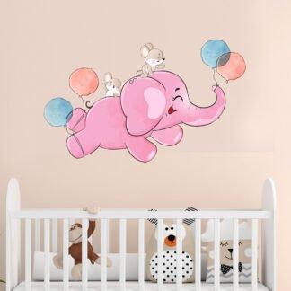 Αυτοκόλλητο τοίχου ελεφαντάκι με μπαλόνια