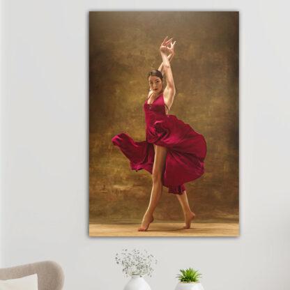 Πίνακας σε καμβά χορεύτρια με κόκκινο φόρεμα