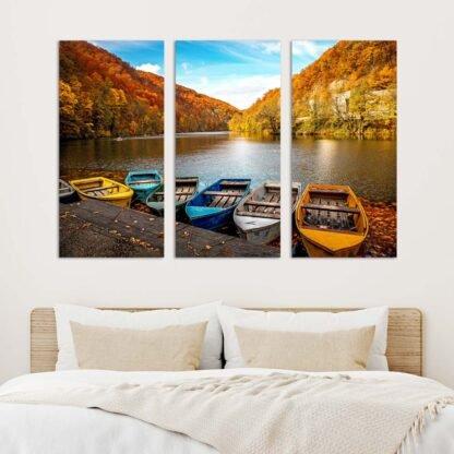 Τρίπτυχος πίνακας Boats in lake