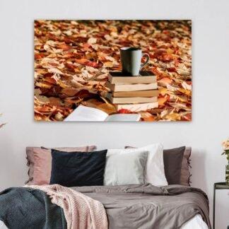 Πίνακας σε καμβά Coffee and leaves