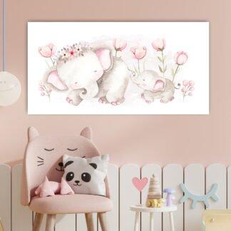 Πίνακας σε καμβά Μαμά Ελέφαντίνα & παιδάκι