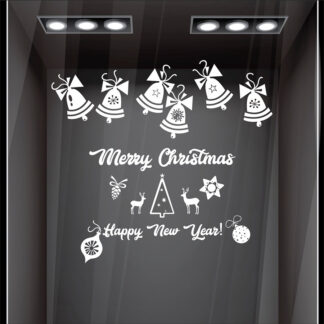 Αυτοκόλλητο τοίχου - βιτρίνας Merry Christmas Bells