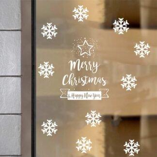 Αυτοκόλλητο τοίχου - βιτρίνας Merry Christmas με νιφάδες