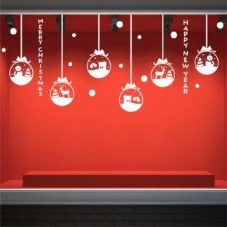Αυτοκόλλητο τοίχου - βιτρίνας Χριστουγεννιάτικες μπάλες με στολίδια