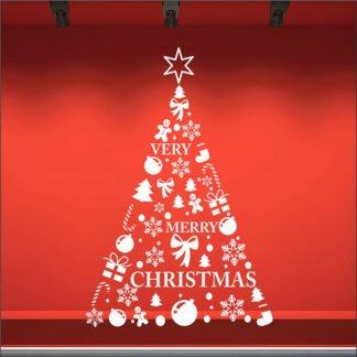 Αυτοκόλλητο τοίχου - βιτρίνας Merry Christmas Tree no2