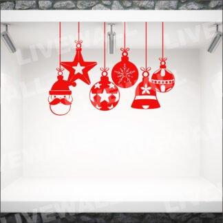 Αυτοκόλλητο τοίχου - βιτρίνας Χριστουγεννιάτικα στολίδια νο11