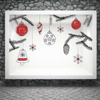 Αυτοκόλλητο τοίχου - βιτρίνας Τεράστια Χριστουγεννιάτικα Στολίδια