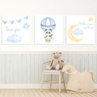 Παιδικοί πίνακες σε καμβά To the moon and back - Blue