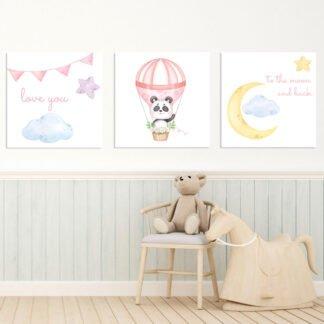 Παιδικοί πίνακες σε καμβά To the moon and back - Pink