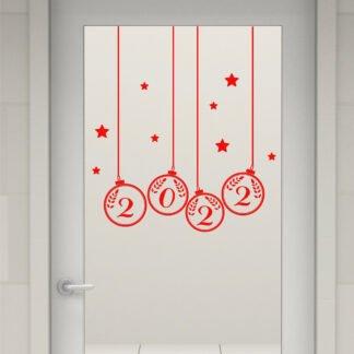 Αυτοκόλλητο τοίχου - βιτρίνας Χριστουγεννιάτικες μπάλες 2022