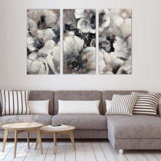 Τρίπτυχος πίνακας Pink Abstract Flowers