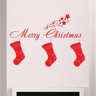 Αυτοκόλλητο τοίχου - βιτρίνας Santa Socks