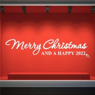 Αυτοκόλλητο τοίχου - βιτρίνας Merry Christmas and a Happy 2022